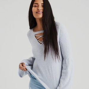 AEO strappy-front bel-sleeve sweater